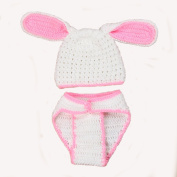Elee Infant Bunny Handmade Crochet Knit Bloom Hat & Nappy Cover Photo Prop