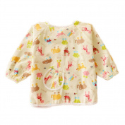 Animal Cotton Waterproof Sleeved Bib Baby Feeding Bibs Art Smock One Size, 2 PCS