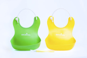 2 Pack Silicone Baby Bibs with BONUS Silicone Spoon and Recipes! Soft, Waterproof, Easy to Wash Green and Yellow For Boys & Girls