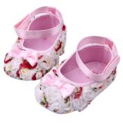 UZZO™Newborn Baby Girl soft bottom Cack Infant Toddler Shoes Covered with cute rose Bandage designed easy to wear(Pink,M) +Free UZZO logo Key Ring