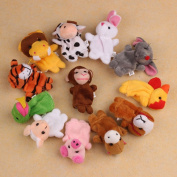 FEITONG(TM) 12Pcs Chinese Zodiac Soft Animal Puppet Finger Toys Plush Toys