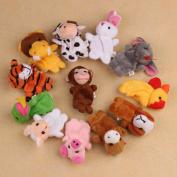 FEITONG(TM) 12Pcs Chinese Zodiac Soft Animal Puppet Finger Toys Plush Toys