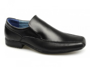 Front BELMONT Boys Leather Tramline Loafers Black
