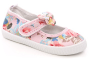 Unze Fran' Girls Kids Canvas Shoes Floral Design Ballerina Flat Mary Janes with Cute Fabric Bow and Velcro Strap Closure