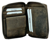 STARHIDE MENS DESIGNER FULL ZIP AROUND DISTRESSED HUNTER LEATHER COIN POCKET WALLET GIFT BOXED - 720