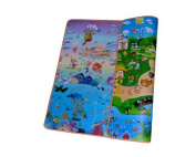 DSstyles 200 x 180 x 1 cm Thickness Environmental Foldable Thickened Double-sided Foam Waterproof Baby Crawling Pad Children Game Mat - Sea + Castle