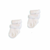 Baby Boys/Girls Cute Turnover Socks 2 PAIRS - Plain White