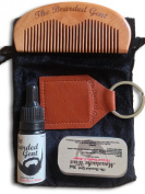 The Bearded Gents Grooming Kit - Beard Oil, Moustache Wax, Comb, Keyring Oil Holder and Gift Bag