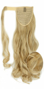 43cm Fashion Long Wrap Around Ponytail Curly Wavy Clip in Pony Tail Hair Extension Extensions Ash Blonde Mix Bleach Blonde