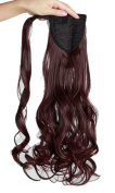 43cm Fashion Long Wrap Around Ponytail Curly Wavy Clip in Pony Tail Hair Extension Extensions Wine Red