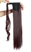 60cm Fashion Long Wrap Around Ponytail Straight Clip in Pony Tail Hair Extension Extensions Wine Red