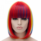 New Bang Bobo Straight Haircut Rainbow Colour Cosplay Costume Party Full Wigs