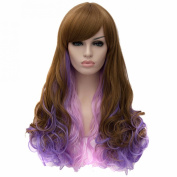 Brown Purple Fashion Wavy Curly Long Haircut Cosplay Anime Party Full Wigs