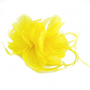 Geneva Feather Fascinator on Band in Yellow