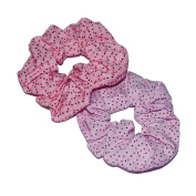 Pack of Two Spotty Fabric Hair Scrunchies.