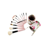 YINGMAN 12 Pcs Pro Makeup Brush Set Cosmetic Brushes Tool Kit with Round Cup Holder Case