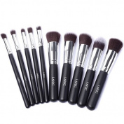 LaRoc 10 Piece Kabuki Makeup Brush Cosmetic Set Kit Eyeshadow Foundation Powder