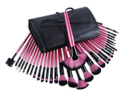 """32 pcs. Cosmetic Professional Makeup Brushes Set """"Glamour Pink"""" incl. Case of the brand MyBeautyworld24"""