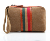 Fortuning's JDS® Retro style women girls durable striped coffee canvas handbag, phone bag