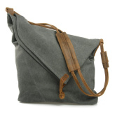 Fortuning's JDS® Retro unique unisex durable college style grey canvas shoulder bag messenger bag