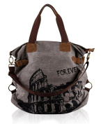 Fortuning's JDS® Retro canvas Colosseum printed handbag shoulder bag travel bag