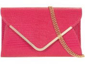 New Rose pink faux snakeskin shoulder bag with chain Clutch Evening Bag Handbag