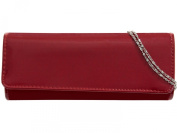 New SHIMMER DARK RED Long Plain Glossy Patent Faux Leather Clutch Evening Bag Handbag & Shoulder Chain