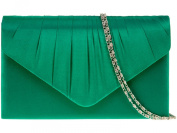 New Green Satin Pleated Envelope Clutch Evening Bag Handbag & Shoulder Chain
