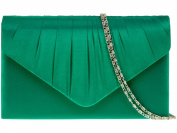 New Green Satin Pleated Envelope Clutch Evening Bag Handbag & Shoulder Chain