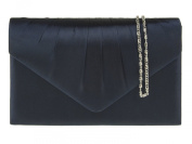 New Navy Blue Satin Pleated Envelope Clutch Evening Bag Handbag & Shoulder Chain