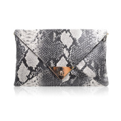 LA HAUTE Women Snakeskin Pattern Handbag Envelope Clutch Bag with Metal Chain Strap Retro Purse Fashion Shoulder Bag