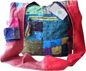 FAIR TRADE COTTON PATCHWORK & RAZOR EMBROIDERED HIPPY BOHO FESTIVAL SHOULDER BAG