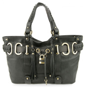 Bovari XL Padlock Shopper Bag - genuine leather- super soft limited edition - black