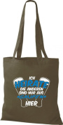 """Crocodile Fabric heiratet it, we 're here only for Saufen """"Cotton Bags, Shopper bag, shoulder bag Various Colours"""