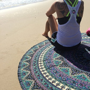 Rawyal-Indian Mandala Round Roundie Beach Throw Tapestry Hippy Boho Gypsy Cotton Tablecloth Beach Towel , Round Yoga Mat