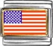 USA Flag - enamel charm - 9mm Italian charm - fits Zoppini, Talexia and Nomination style bracelets