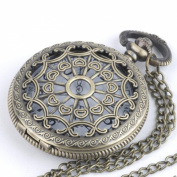 81stgeneration Vintage brass pocket watch pendant long chain necklace