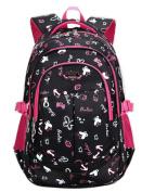 Teenager Girls Boys School Bag Star Pattern Backpack Waterproof Oxford Fabric Rucksack (Black