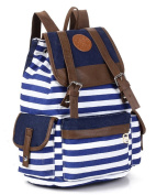 Fortuning's JDS® Newest casual Korean style striped canvas drawstring backpack for women
