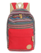 Fortuning's JDS® Ethnic striped red canvas school bag rucksack backpack