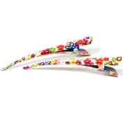 2 x White Flower Enamel Concorde Hair Clip Beak Clips