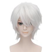 Axis Powers Gilbert Beillschmid Fancy Cosplay Wig Short Anime Hair+Wig Cap Silver White