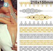 Golden Metalic Body Art Temporary Removable Tattoo Stickers With Golden Pattern VT333 Sticker Tattoo - FashionLife