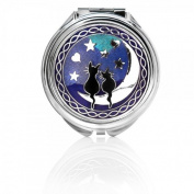 Compact Mirror - Cats on Moon Design - Enamelled Pewterware