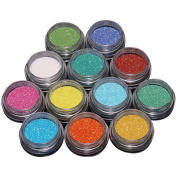 VOSO-12 Mix Colour Nail Art Acrylic Glitter Powder Dust Tips Decoration Tool # 5501480