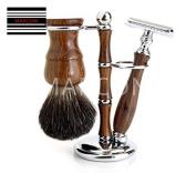 Wooden Safety Razor Badger Shaving Brush Stylo 3 Piece Set Rosewood