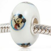 Cute Painted Mickey Mouse Murano Charm Glass Bead - .925 Sterling Silver Core NEW - Fits Pandora European Style Bracelets