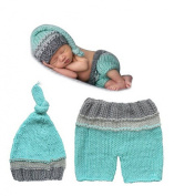 Jastore® Photography Prop Baby Costume Cute Green Crochet Knitted Hat Pants