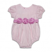 Baby Girl Pink Pure Cotton Puff Sleeves 6-9months Bubble with a roses