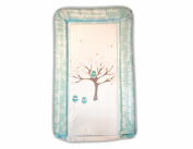 SOFT PADDED WATERPROOF BABY CHANGING MAT THREE WISE OWLS DESIGN - blue & beige